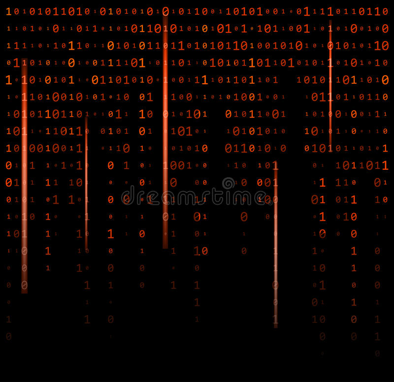 Binary code zero one matrix red background beautiful banner wall. Paper design illustration stock illustration