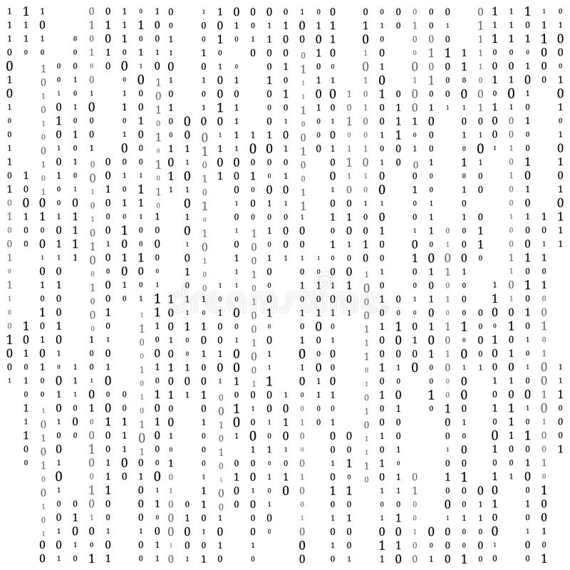 Binary code zero one matrix white background. banner, pattern, wallpaper. Vector illustration stock illustration