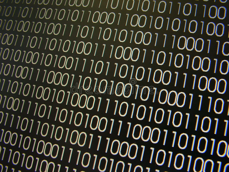 Binary Codes. Screen capture; pixelation effect stock illustration