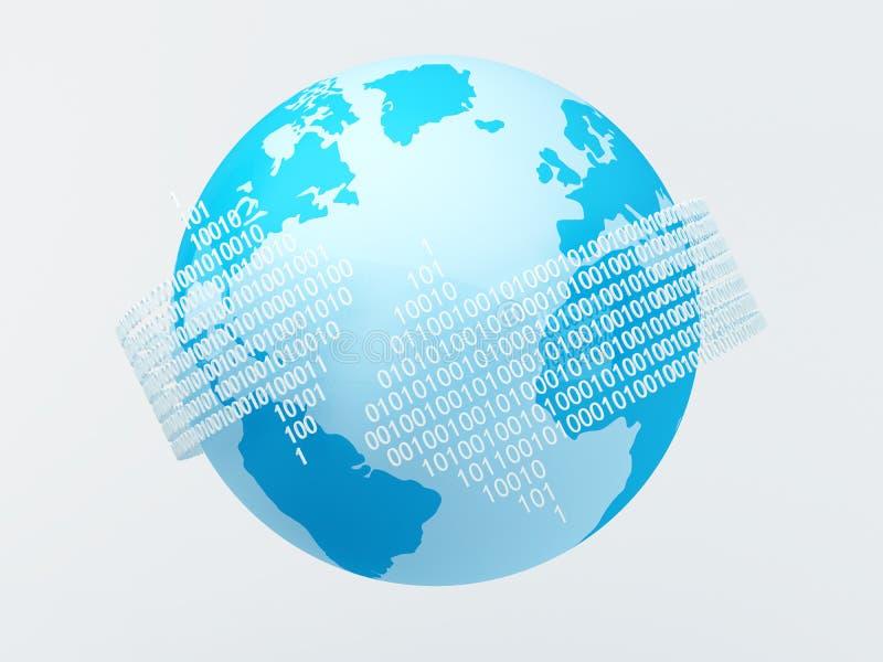 Download Binary codes around globe stock illustration. Illustration of globe - 26493799