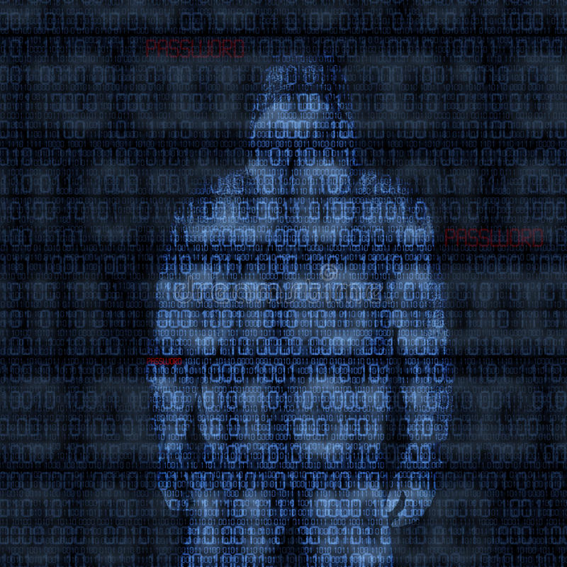 Binary codes with hacked password stock illustration