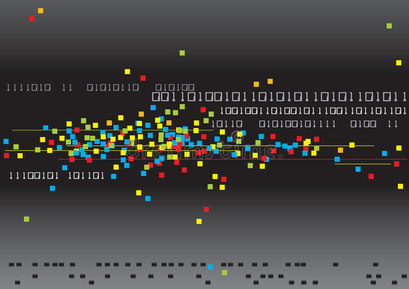 Binary and Colors. Computer generated digital binary code technology