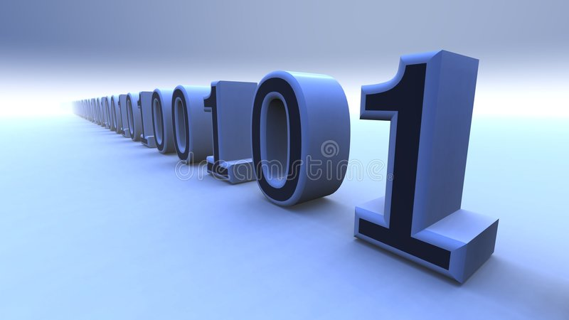 Binary computer code. Of ones and zeros in a 3 dimensional diagonal line royalty free illustration