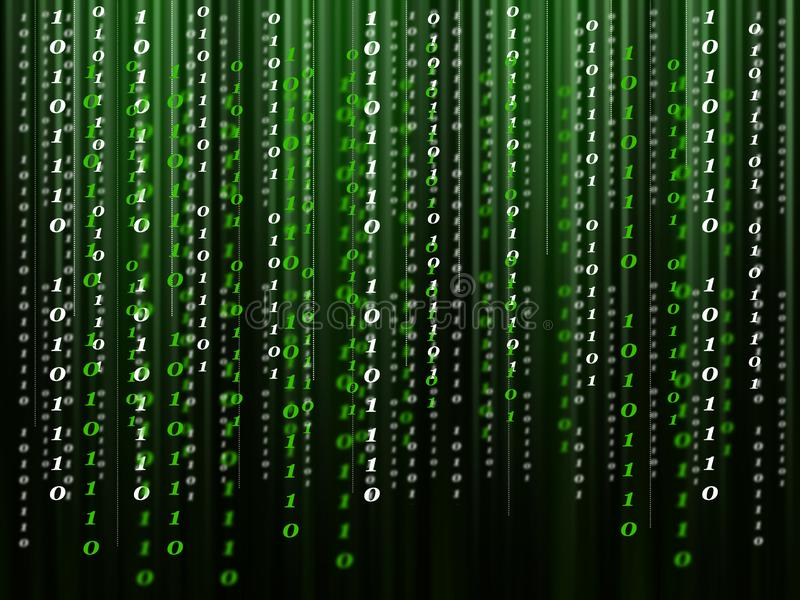 Binary computer code flowing on the black-green background. Green-black background from the binary computer code. Digits of the binary code go down from top to royalty free illustration