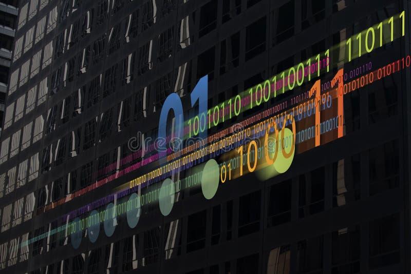 Binary data. Photo illustration of binary data overlays skyscraper windows