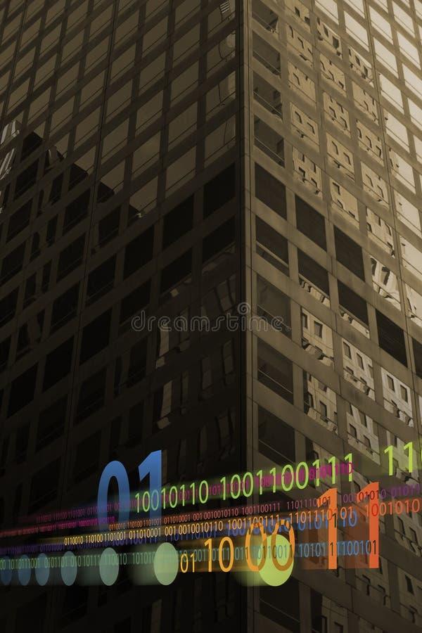 Binary data. Photo illustration of binary data overlays skyscraper windows stock photos