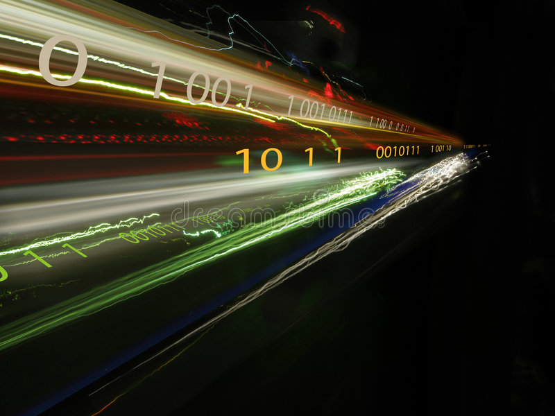 Binary data. Photo of binary data and light streaks from cars at night royalty free stock photography