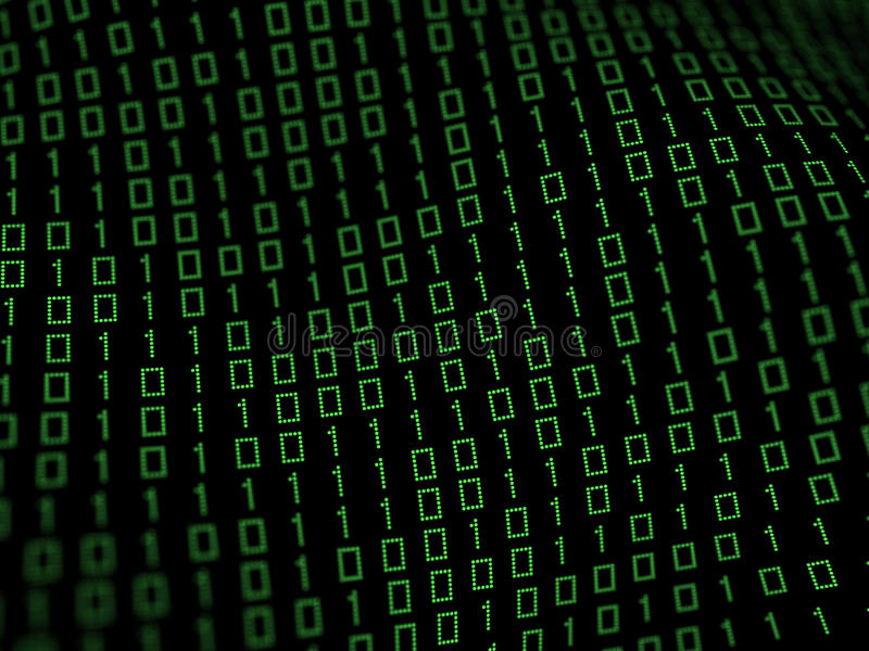 Binary data background. 3D illustration of binary data field stock images