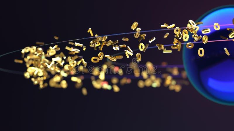 Binary data flow. In the dark stock illustration