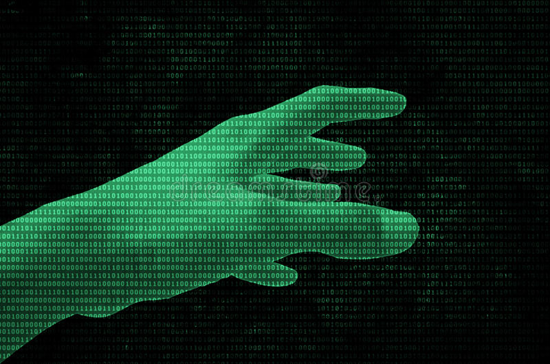 Binary data Hand vector illustration
