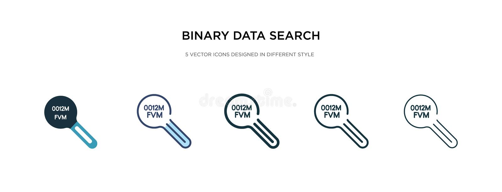 Binary data search icon in different style vector illustration. two colored and black binary data search vector icons designed in stock illustration