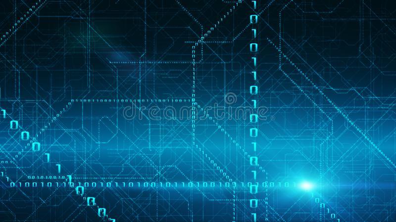 Binary Data Stream Background. Transfer Of Information, Cloud Computing stock illustration