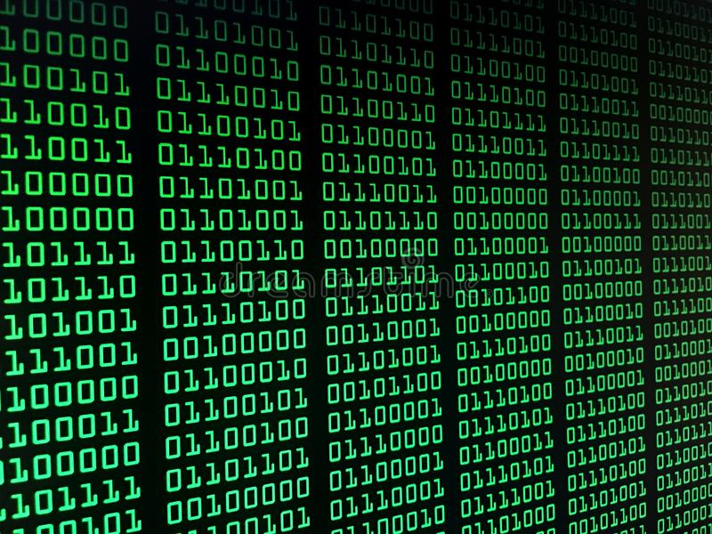 Binary data stream concept, numbers, big data, information royalty free stock image