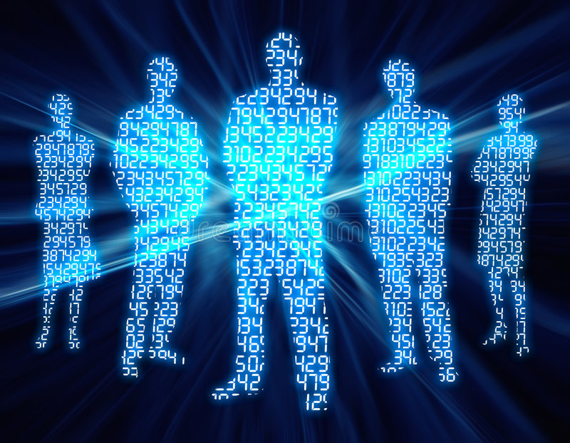 Binary Digit People vector illustration