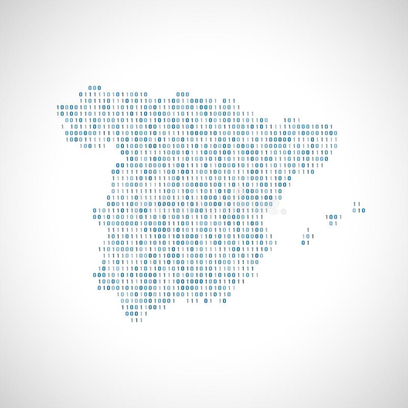 Binary digital map of Spain. Silhouette from binary computer code stock illustration