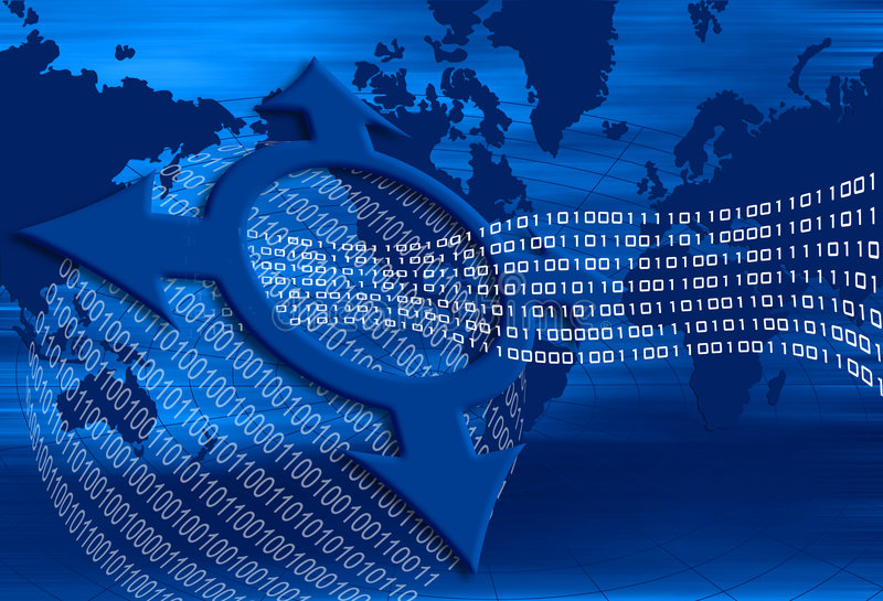 Binary flow. With world map stock illustration