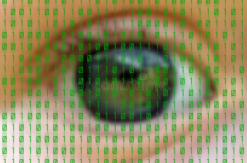 Binary. Green binary numbers on human eye background royalty free stock photos