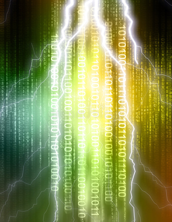 Binary lightning strike. Computer illustration consisting of binary code and matrix style letters