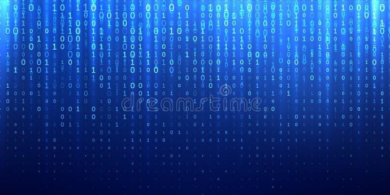 Binary matrix 1 0 bits blue abstract background vector illustration