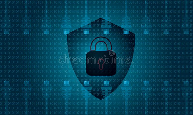 The binary numbers background. Hacked security concept vector stock illustration