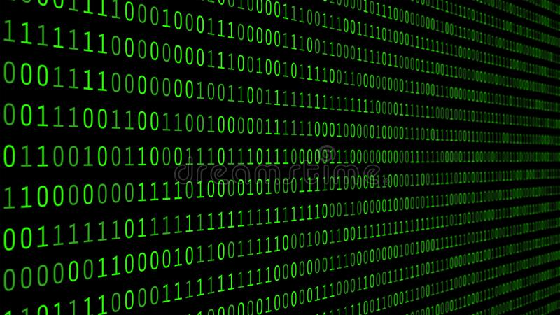 01 or binary numbers on the computer screen on monitor matrix background, Digital data code in hacker or safety security royalty free illustration