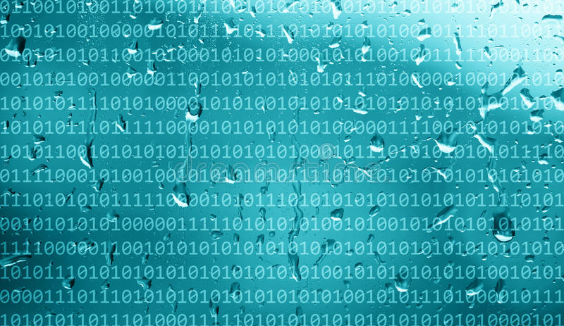 Binary numbers data on abstract rainy window. Binary numbers data on abstract rainy blue color window background royalty free stock photo