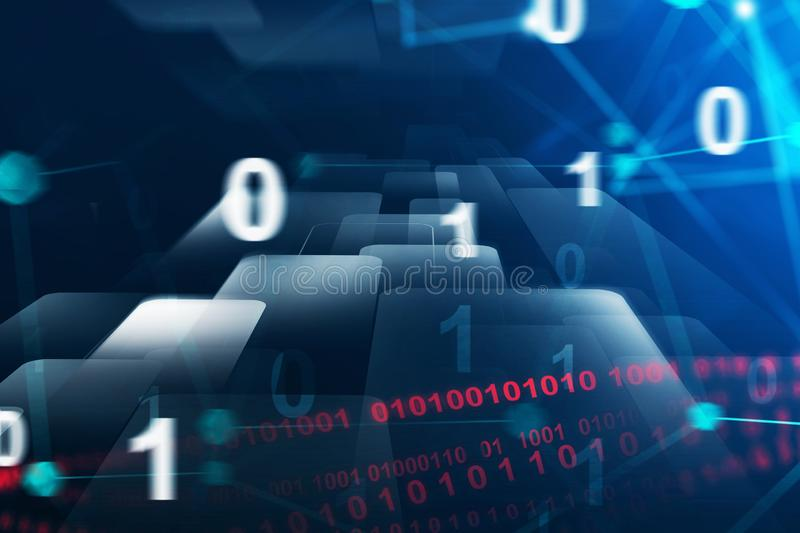 Blue binary numbers interface. Binary numbers and lines of code, flow of data over blue background. Concept of future technology and artificial intelligence. 3d stock photos