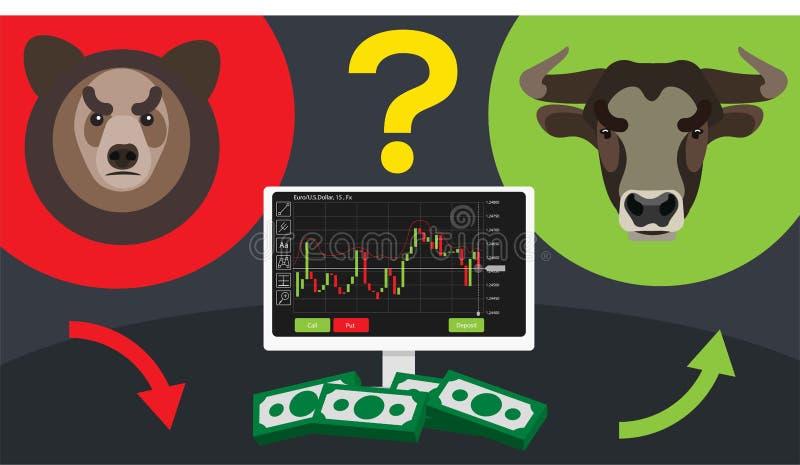 Binary options. Bulls bears terminal trading stock illustration