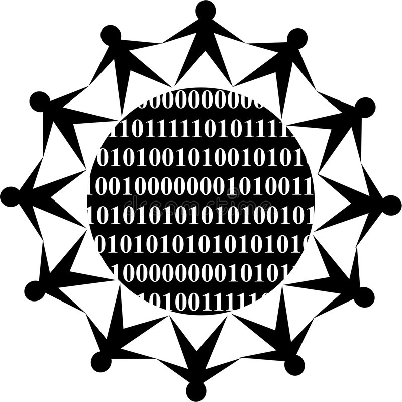 Binary people. Isolated icon of a team of people around a globe containing binary code vector illustration