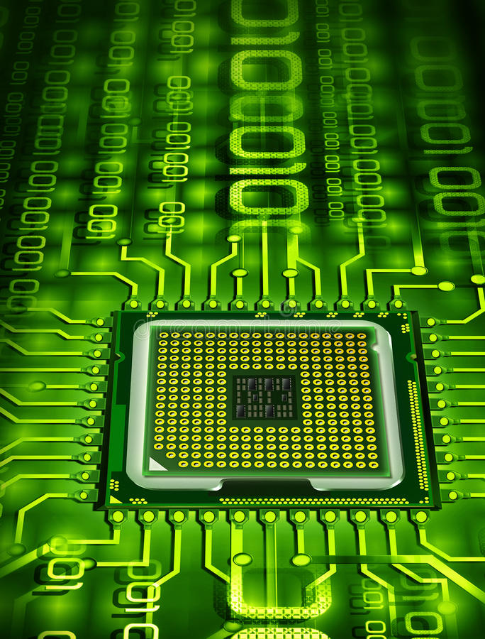 Binary processor. Abstract processor with binary circuit royalty free illustration
