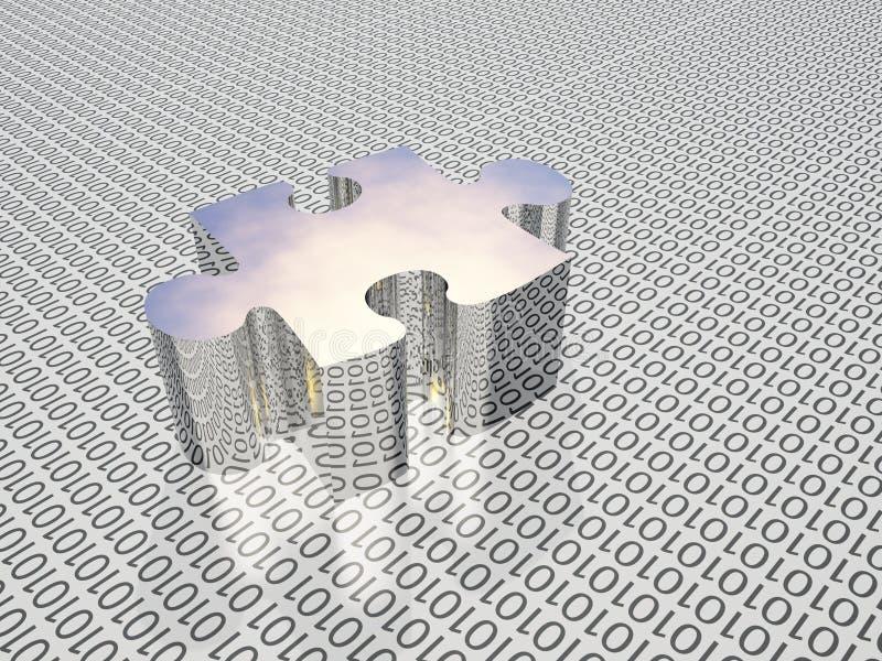 Binary puzzle stock illustration