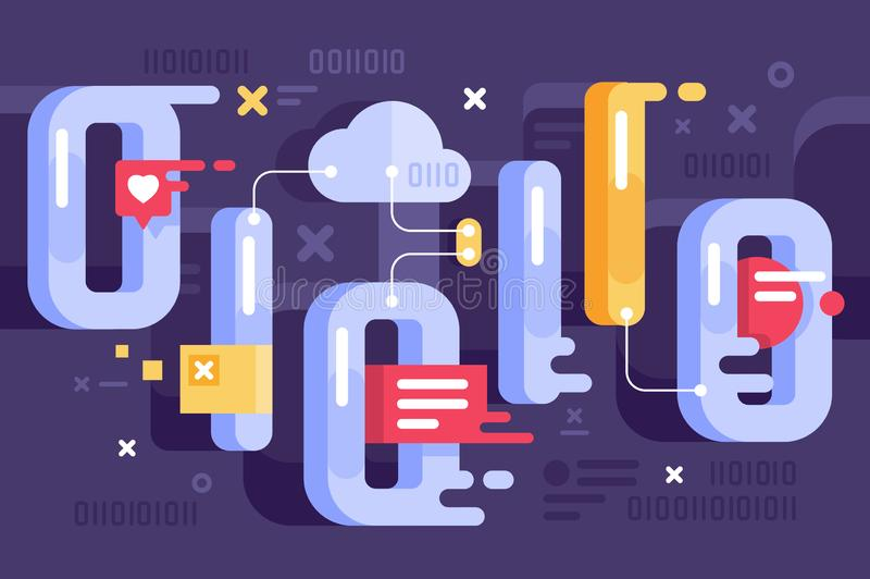 Binary representation in the world of data. stock illustration