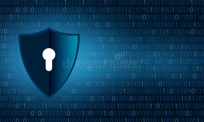 Binary shield security and data privacy protection shield and lock over binary digits background. Binary shield security and data privacy protection shield and stock illustration