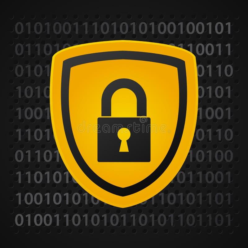 Binary shield. Yellow binary shield, data protection stock illustration