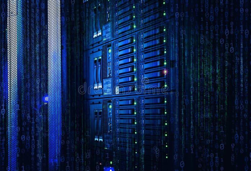 Binary stream, flow of information. Concept of blade server, storage, big data. modern mainframe disk storage with stock image