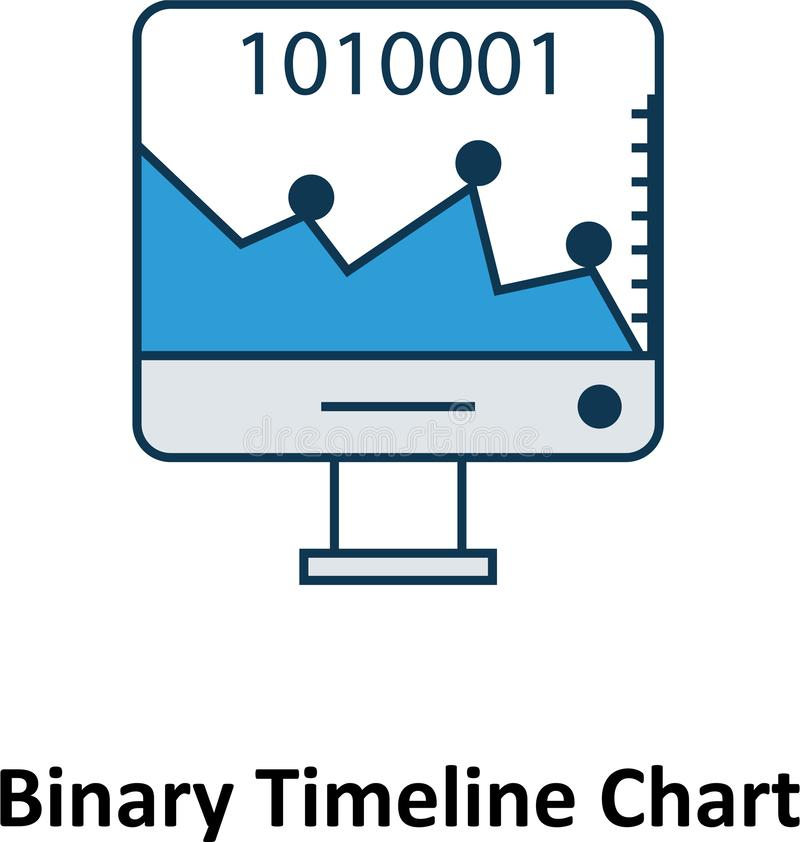 Binary Timeline Chart Isolated and Vector Icon for Technology vector illustration