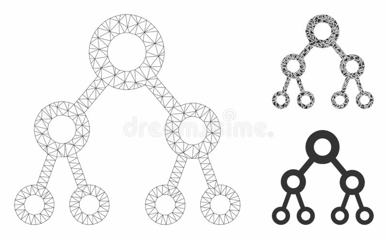 Binary Tree Vector Mesh Carcass Model and Triangle Mosaic Icon. Mesh binary tree model with triangle mosaic icon. Wire frame polygonal mesh of binary tree stock illustration