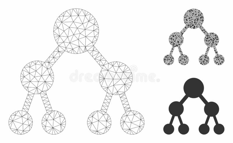 Binary Tree Vector Mesh Wire Frame Model and Triangle Mosaic Icon. Mesh binary tree model with triangle mosaic icon. Wire carcass polygonal mesh of binary tree vector illustration