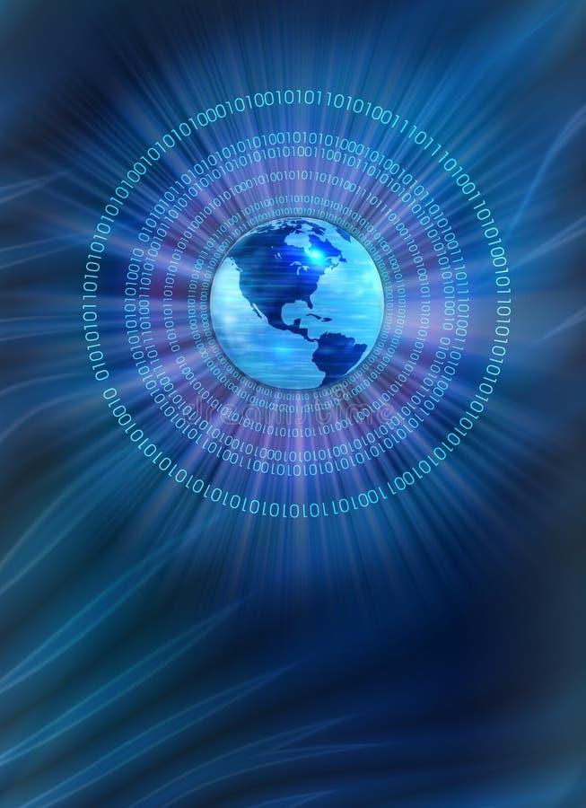 Binary world - blue background stock illustration