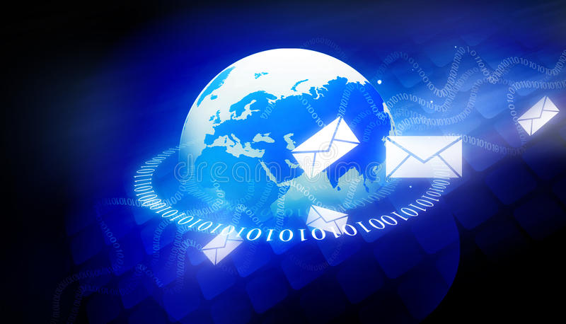 Binary world with email messages. 3d render of Binary world with email messages royalty free illustration