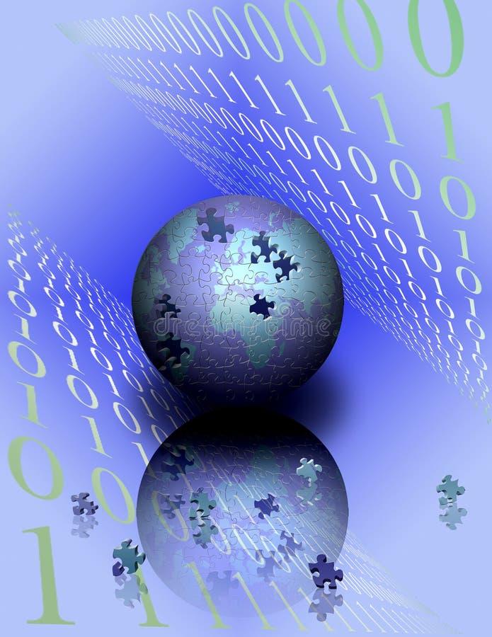 Binary World Puzzle vector illustration