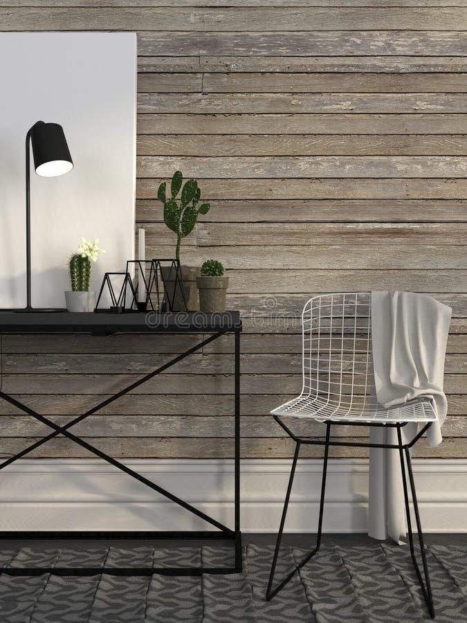 Binda stol- och metalltabellen mot en vägg av bruna bräden royaltyfri illustrationer