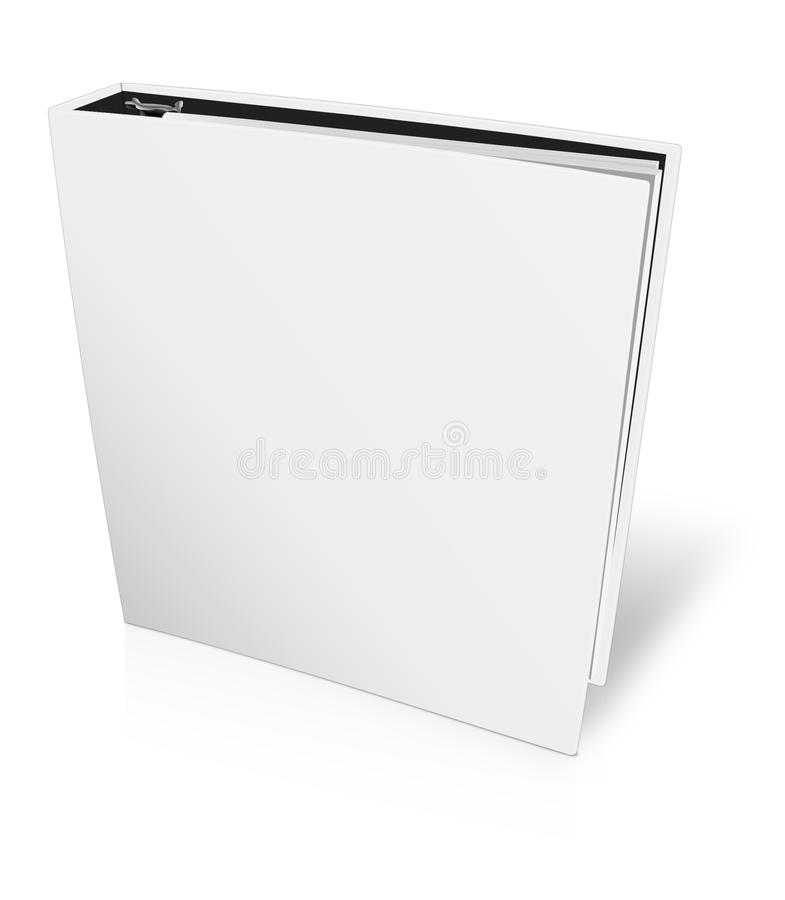 Binder blank file folder. Blank closed office binder with metal rings, standing, 3d view, on white background vector illustration