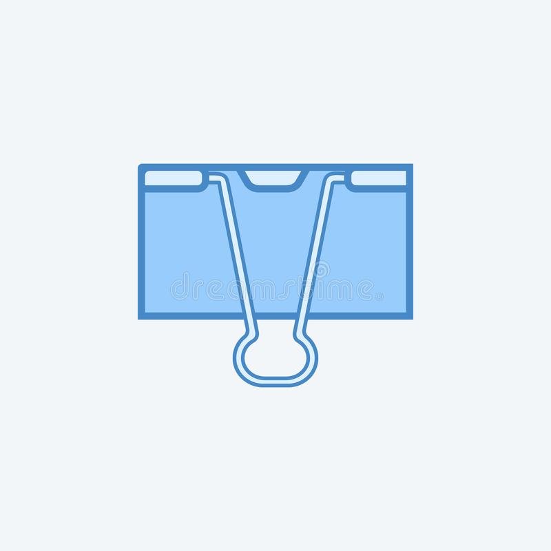 Binder clip 2 colored line icon. Simple dark and light blue element illustration. Binder clip concept outline symbol design from e. Ducation set on light stock illustration