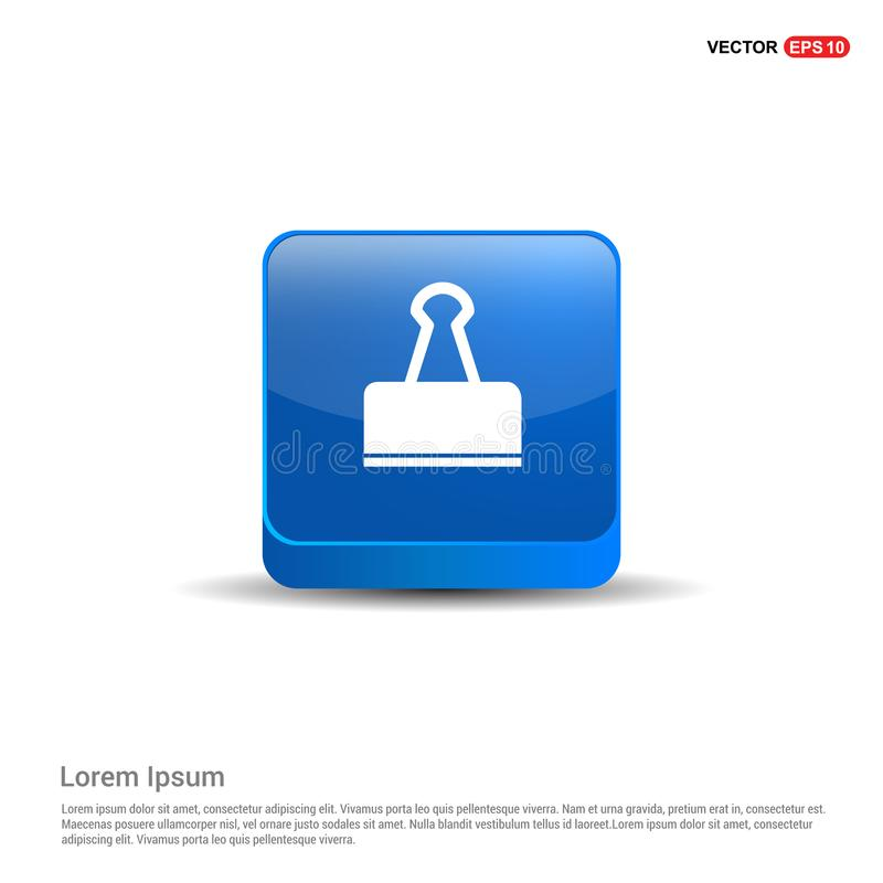 Binder Clip icon - 3d Blue Button. This Vector EPS 10 illustration is best for print media, web design, application design user interface and infographics royalty free illustration