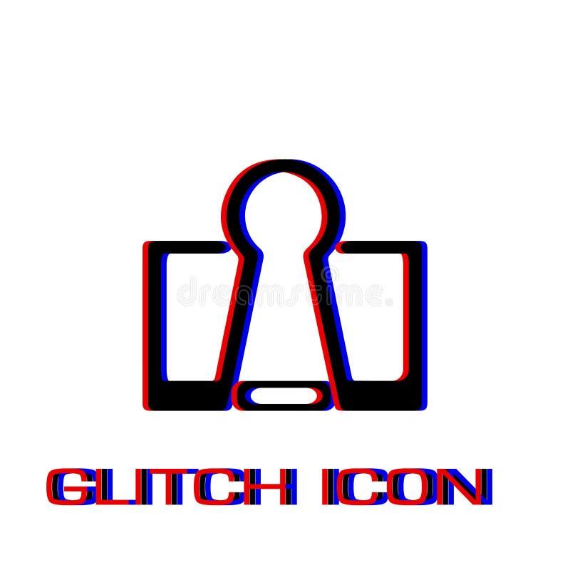 Binder clip icon flat. Simple pictogram - Glitch effect. Vector illustration symbol stock illustration