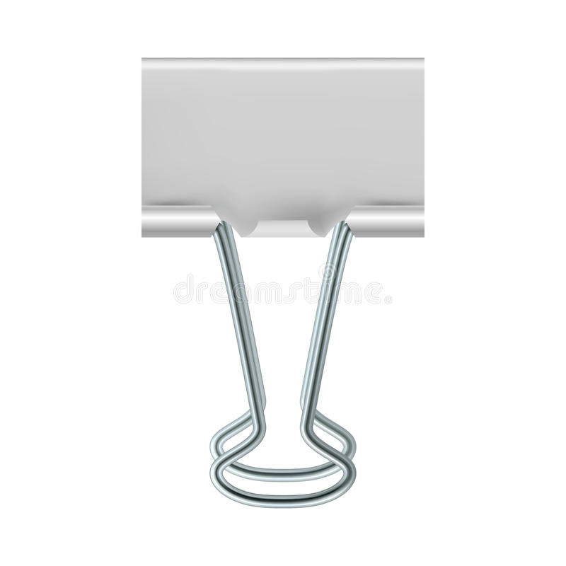 Binder clip icon, realistic style. Binder clip icon in realistic style on a white background stock illustration