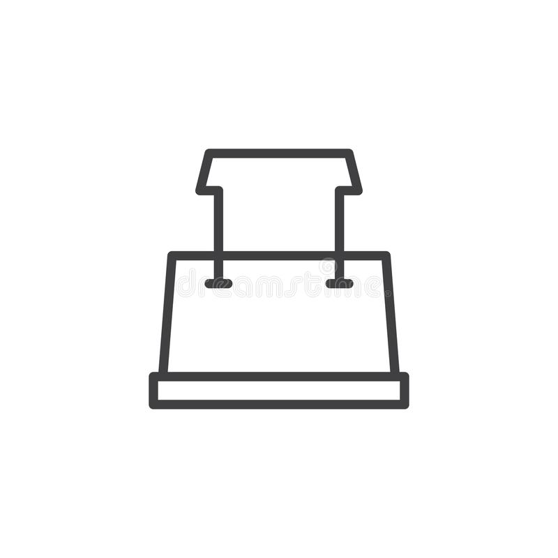 Binder clip outline icon. Linear style sign for mobile concept and web design. Paper clip simple line vector icon. Symbol, logo illustration. Pixel perfect royalty free illustration