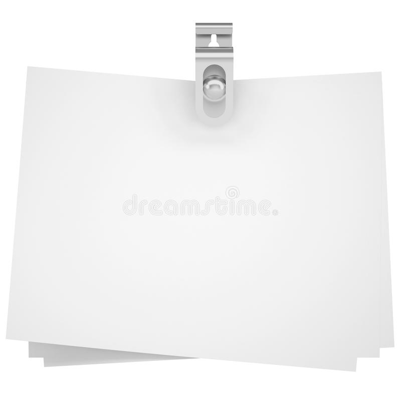 Binder clip and paper. Isolated render on a white background royalty free illustration
