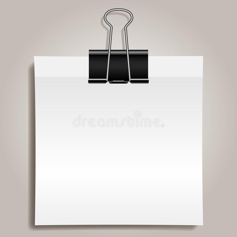 Binder clip and paper. Metallic binder clip and white note paper stock illustration